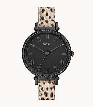 Kinsey Three-Hand Faux Cheetah Hair Leather Watch