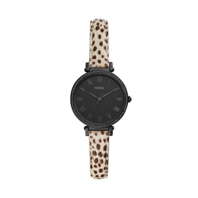 Fossil Women's Kinsey Three-Hand Faux Cheetah Hair Leather Watch