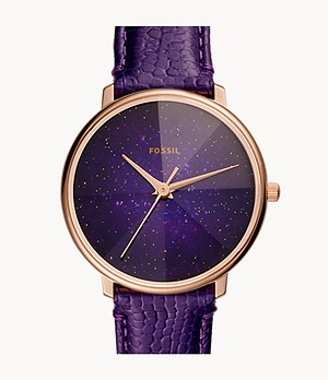 Prismatic Galaxy Three-Hand Purple Leather Watch
