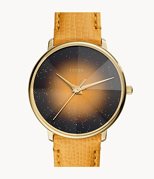 Prismatic Galaxy Three-Hand Yellow Leather Watch