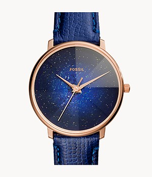 Prismatic Galaxy Three-Hand Blue Leather Watch