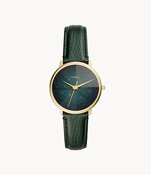 Prismatic Galaxy Three-Hand Green Leather Watch