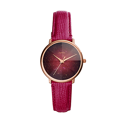 Prismatic Galaxy Three-Hand Fuschia Leather Watch