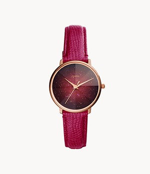 Prismatic Galaxy Three-Hand Fuchsia Leather Watch