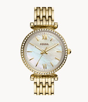 Carlie Mini Three-Hand Gold-Tone Stainless-Steel Watch