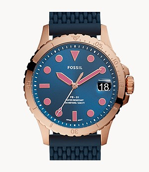 FB-01 Three-Hand Date Navy Silicone Watch