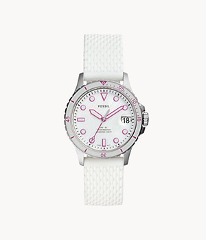 FB-01 Three-Hand Date White Silicone Watch