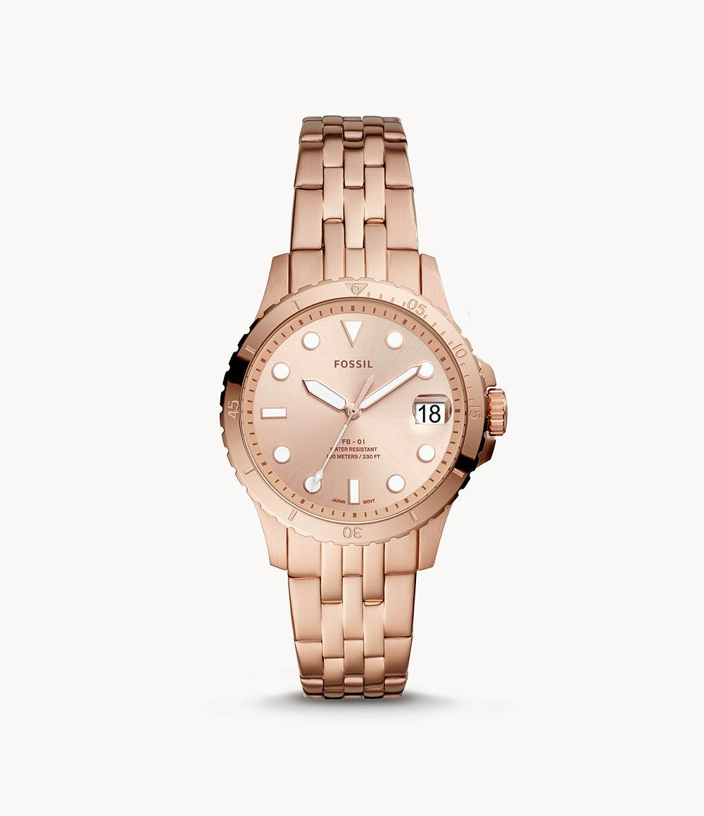 Fb 01 Three Hand Date Rose Gold Tone Stainless Steel Watch Es4748 Fossil