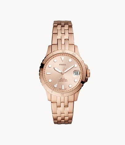 FB-01 Three-Hand Date Rose Gold-Tone Stainless Steel WatchFB-01 Three-Hand Date Rose Gold-Tone Stainless Steel Watch