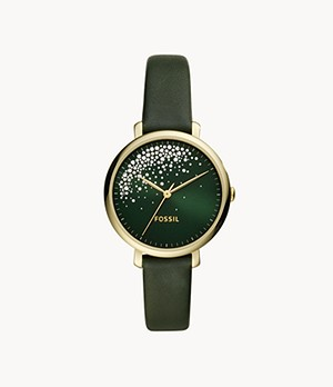 Jacqueline Three-Hand Dark Green Leather Watch