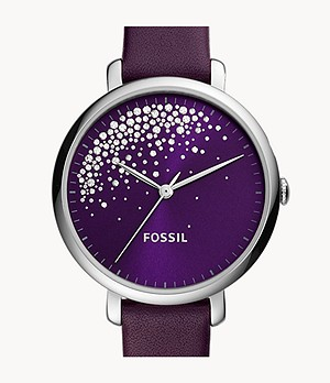 Jacqueline Three-Hand Purple Leather Watch
