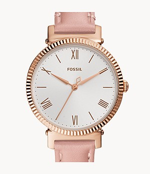 Daisy Three-Hand Blush Leather Watch