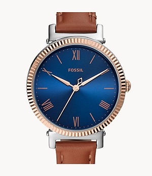 Daisy Three-Hand Tan Leather Watch