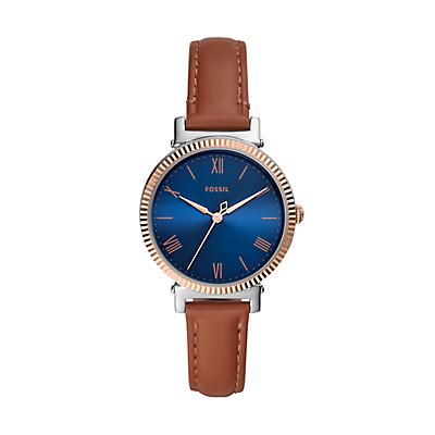 Daisy Three-Hand Tan Leather Watch