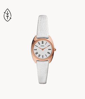 Jude Mini Two-Hand White Leather Watch