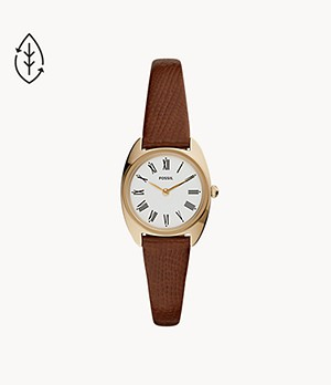 Jude Mini Two-Hand Brown Leather Watch
