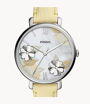 Jacqueline Three-Hand Lemon Leather Watch