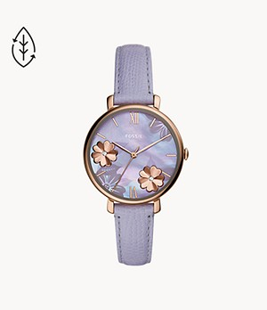 Jacqueline Three-Hand Lavender Leather Watch