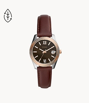 Scarlette Mini Three-Hand Brown Leather Watch