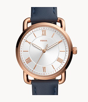 Copeland Three-Hand Midnight Navy Leather Watch