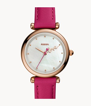 Carlie Mini Three-Hand Fuchsia Leather Watch
