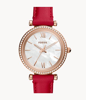 Carlie Mini Three-Hand Red Leather Watch