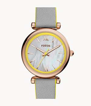 Carlie Mini Three-Hand Grey Leather Watch