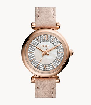 Carlie Mini Three-Hand Nude Leather Watch