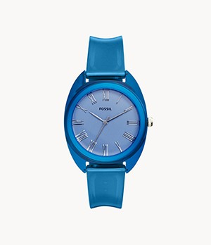 Jude Three-Hand Blue Silicone Watch