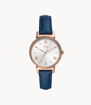 Daisy Three-Hand Midnight Navy Leather Watch
