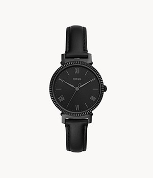 Daisy Three-Hand Black Leather Watch