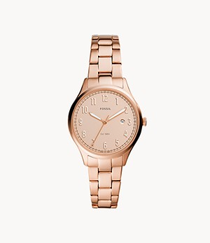 Lady Forrester Three-Hand Date Rose Gold-Tone Stainless Steel Watch