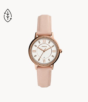 Gwen Three-Hand Date Nude Leather Watch