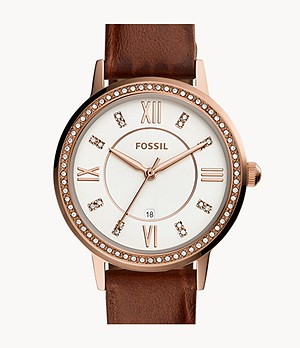 Gwen Three-Hand Date Brown Leather Watch