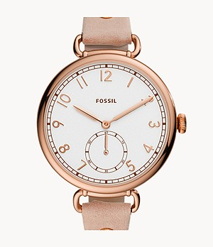 Josey Three-Hand Blush Leather Watch
