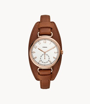 Josey Three-Hand Brown Leather Watch