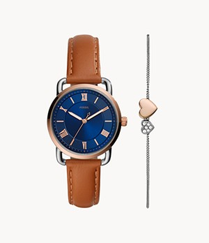 Copeland Three-Hand Tan Leather Watch and Bracelet Set