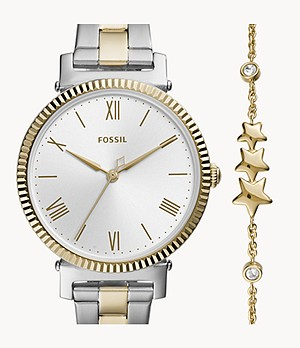 Daisy Three-Hand Two-Tone Stainless Steel Watch and Bracelet Set