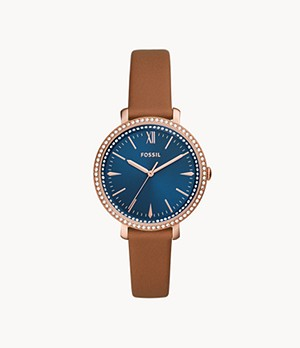 Jacqueline Three-Hand Brown Leather Watch