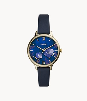 Winnie Three-Hand Navy Leather Watch
