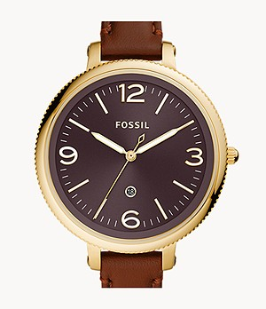 Monroe Three-Hand Date Brown Leather Watch