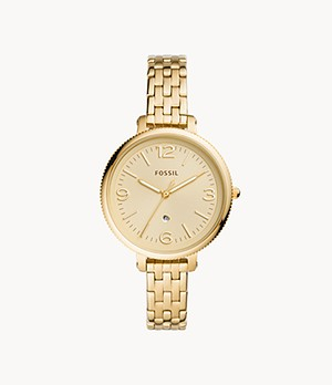 Monroe Three-Hand Date Gold-Tone Stainless Steel Watch