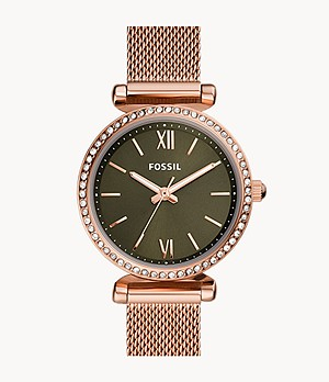 Carlie Mini Three-Hand Rose Gold-Tone Stainless Steel Mesh Watch