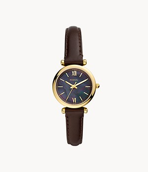 Carlie Mini Three-Hand Dark Brown Leather Watch