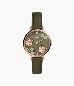 Jacqueline Three-Hand Olive Leather Watch