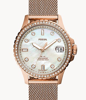 FB-01 Three-Hand Date Rose Gold-Tone Stainless Steel Mesh Watch