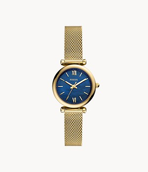 Carlie Mini Three-Hand Gold-Tone Stainless Steel Mesh Watch