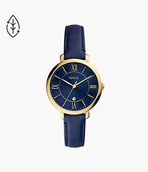 Jacqueline Three-Hand Date Navy Leather Watch