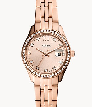 Scarlette Micro Three-Hand Date Rose Gold-Tone Stainless Steel Watch