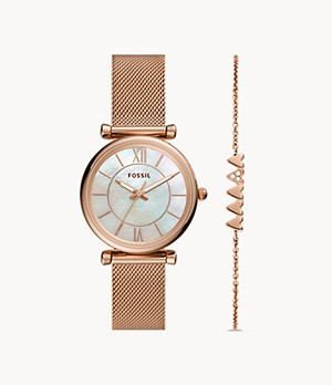 Carlie Three-Hand Rose Gold-Tone Stainless Steel Mesh Watch and Bracelet Set